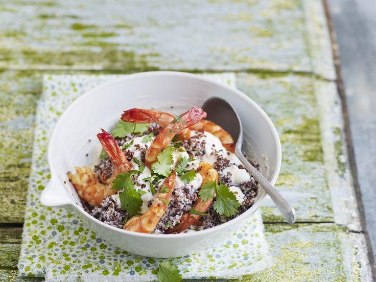 Garnelen mit Ricotta-Creme und Quinoa