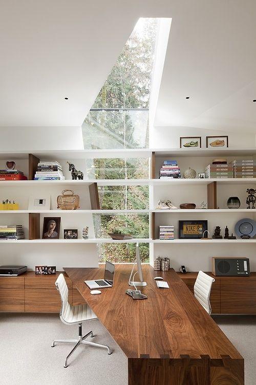 Inspirational office desk, shelving & window