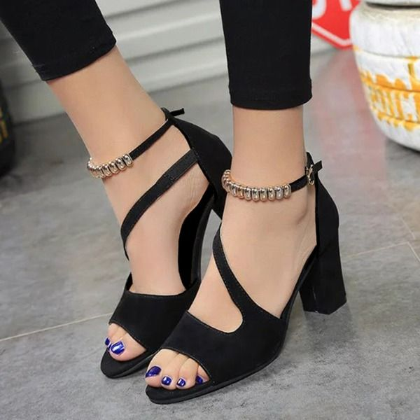 Details about  /Women Platform Round Toe Buckle Ankle Strap Chunky High Heels Shoes Size34-43 US