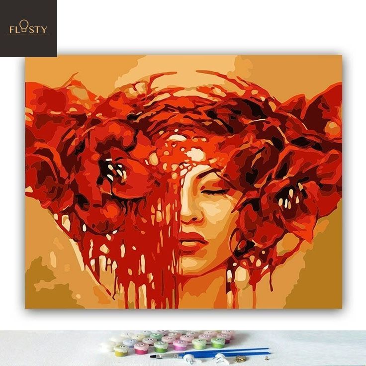 Painting By Numbers Girl With Red Big Flowers 1 Body Art