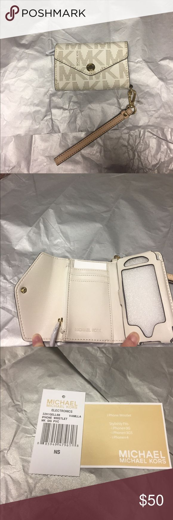 NEVER WORN- Michael Kors IPhone/wristlet iPhone 3G 3GS 4 wallet wristlet , cream base color, tan MK , gold snap button infront and tan strap. NEVER WORN GIVEN AS A GIFT SO PRICE WAS TAKEN OFF: MICHAEL Michael Kors Bags Clutches & Wristlets