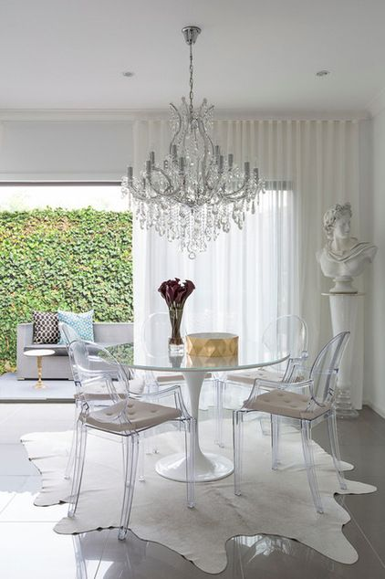 Charmant Contemporary Dining Room With Beautiful Sheer Curtains   Ripple Fold  Pleating