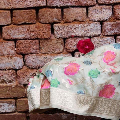 Cream Pure Katan Silk Banarasi Handloom Saree