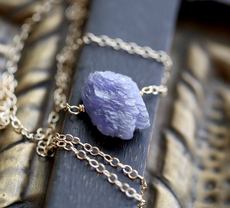Raw Tanzanite Necklace, Rough Tanzanite Necklace, Genuine Natural Tanzanite Necklace, December Birthstone Necklace, Silver or Gold