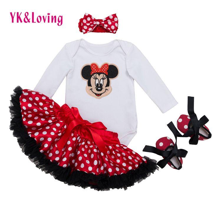 Bebek Giyim 4 adet setleri Beyaz Uzun Kollu Tulum Kırmızı Tutu Etek Fırfır Pettiskirt Ayakkabı Kafa Bebek Kız Giysileri YK & Loving