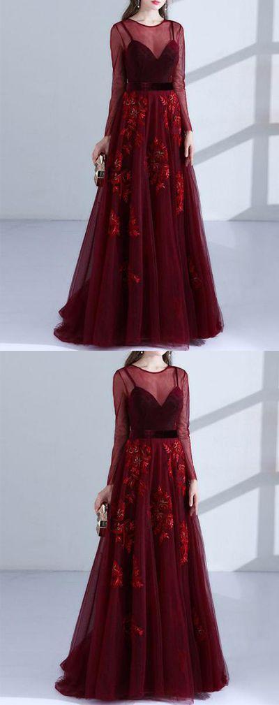 burgundy tulle long prom/evening dress #prom #promdress #promdresses #eveningdress #eveningdresses
