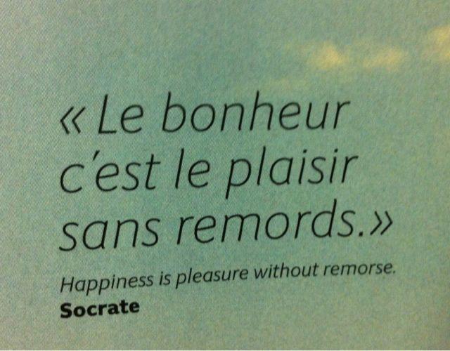 Le bonheur c'est le plaisir sans remords - socrate