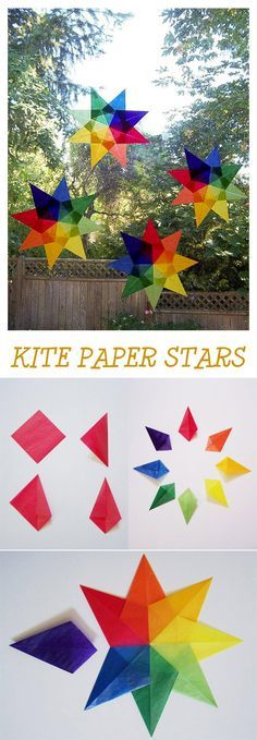 Kite activities: Lovely kite craft. Rainbow-colored tissue paper squares folded into a kite shape then glued together. Awesome!