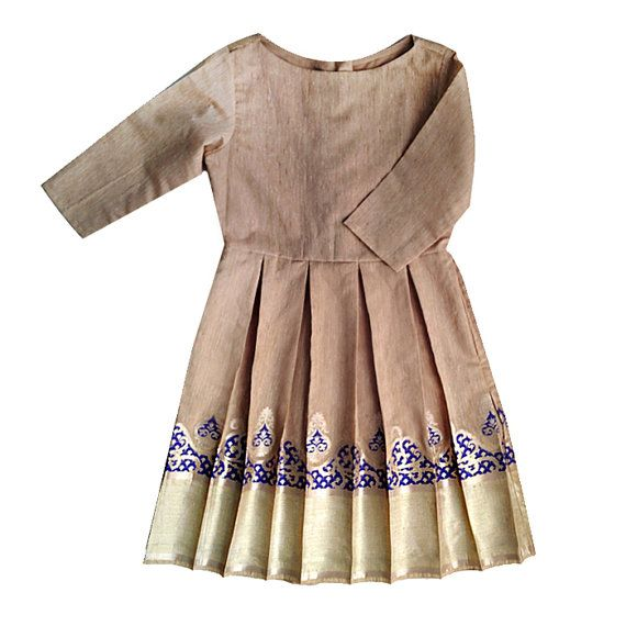 Beige & Blue Brocade Pleated Dress with Handmade Buttons