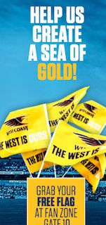 Free flags for fans at West Coast Eagles AFL games