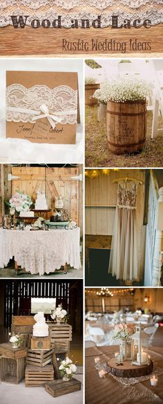 rustic and vintage wood and lace wedding ideas and wedding invitations