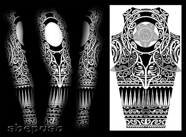 tribal full sleeve design by on deviantart polynesian maori samoan. Black Bedroom Furniture Sets. Home Design Ideas