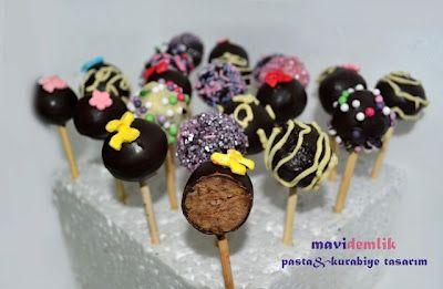 mavi demlik mutfağı- izmir butik pasta kurabiye cupcake tasarım- şeker hamurlu-kur: Cake Pops (kek topları)