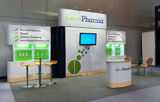 Trade show display stand for Kosei Pharma during it participation in an Event called Pharmacy Show at Birmingham, UK. For more details contact us at http://www.expodisplayservice.ae/contactus.asp