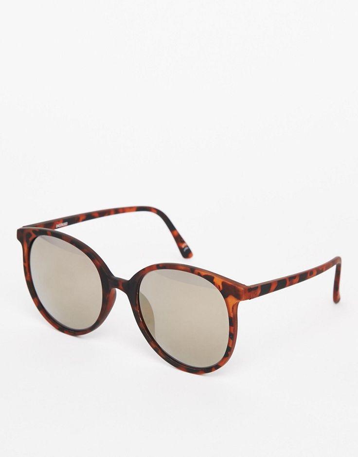 Image 1 ofASOS Round Oversized Sunglasses In Fine Frame With Flash Lens