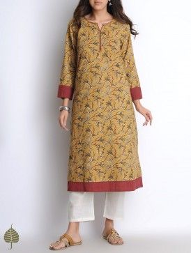 Mustard-Red Hand Block Printed Kalamkari Hand Woven Double Layered Cotton Kurta by Jaypore