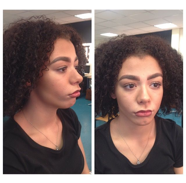 Day make up✨.  Included contour and created a bigger, dark lip effect! #mediumskin #contour #darklips