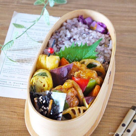 2016.1.11のお弁当【鶏と野菜の甘酢絡め弁当】 |曲げわっぱのあひる弁当