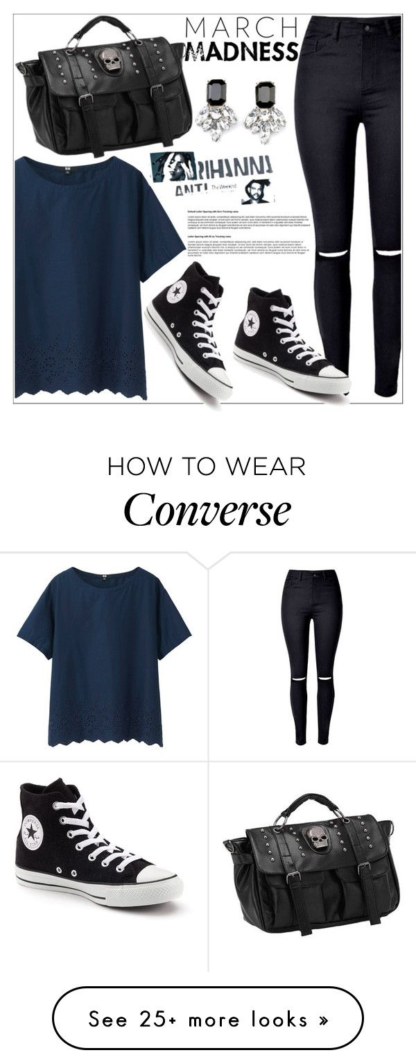 """""""casual style"""" by nickooe-zhou on Polyvore featuring WithChic, Uniqlo and Converse"""