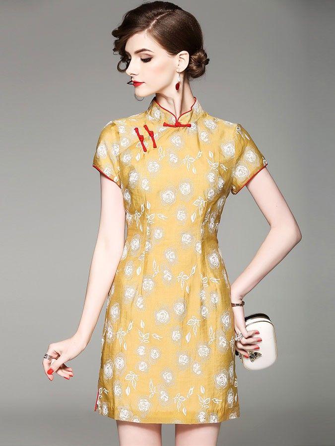 Yellow Floral Print Qipao / Cheongsam Dress