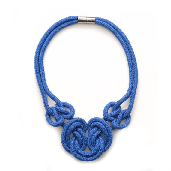 Blue Nautical Rope Necklace by SchnurMeTight on Etsy