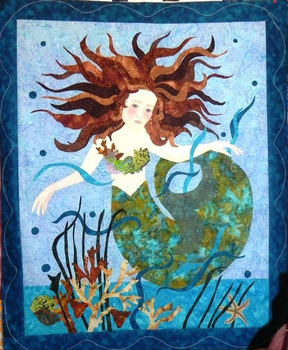 Mermaid Quilt - applique (purchased pattern) and long armed with metalic threads