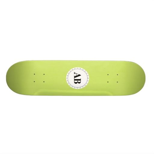 June bud green solid color with monogram custom skateboard