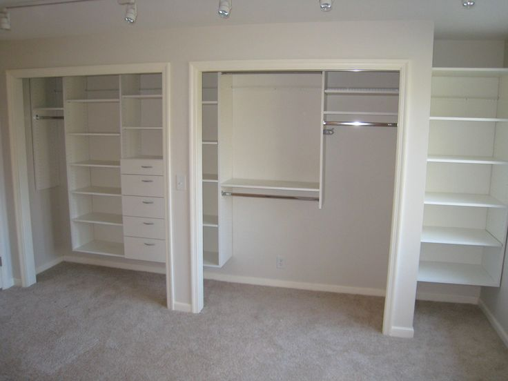 Reach-in Closet Organization- Add vertical shelving with drawers or pull out bins to keeps sweaters and other hard to hang items in perfect condition and within easy reach.