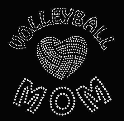 Volleyball Mom Rhinestone Shirt LOVE/Heart Rhinestone Shirt BLING.  Vneck Tshirt, Long Sleeve T, Hoodie.  Great gift!