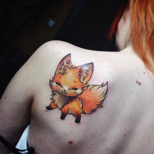 cute-red-fox-tattoo-on-back-for-women