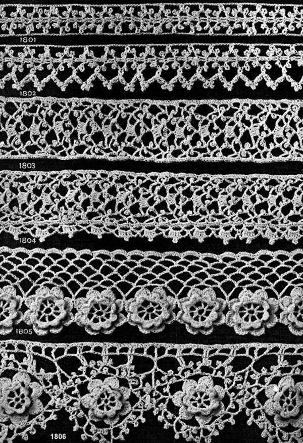 Crochet Irish Beauties Edging Patterns Nos. 1801 to 1806 originally published in Star Book of 100 Edgings. #edging #edgingpatterns