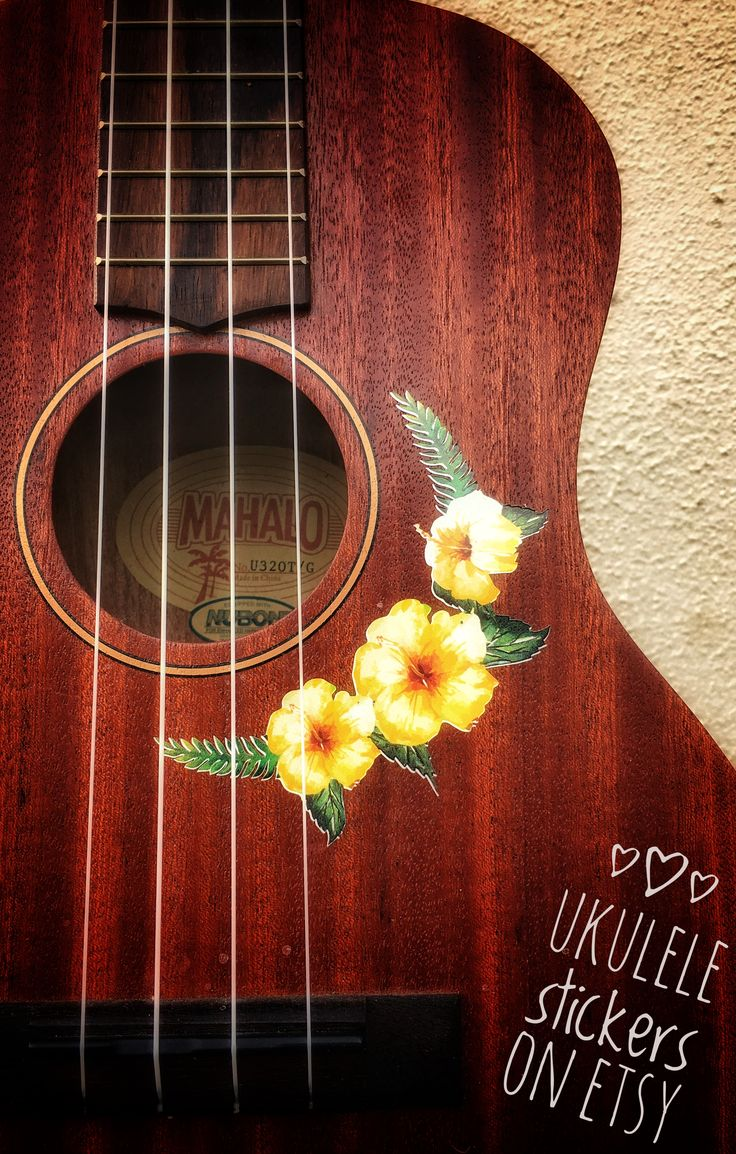 Ukulele sticker of vintage yellow hibiscus flower and fern combination. A stunning compliment to your ukulele