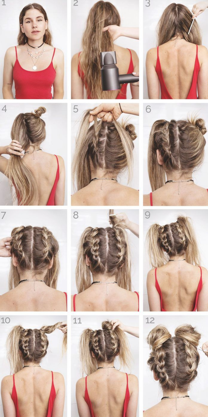 34 Space Buns You Can Easily Copy How To Make Space Buns Tutorial With Hairstyle Festival Hair Tutorial Long Hair Styles Cool Hairstyles