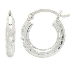 """14K White Gold Hoop Earrings (3/4"""""""" X 2 mm)"""