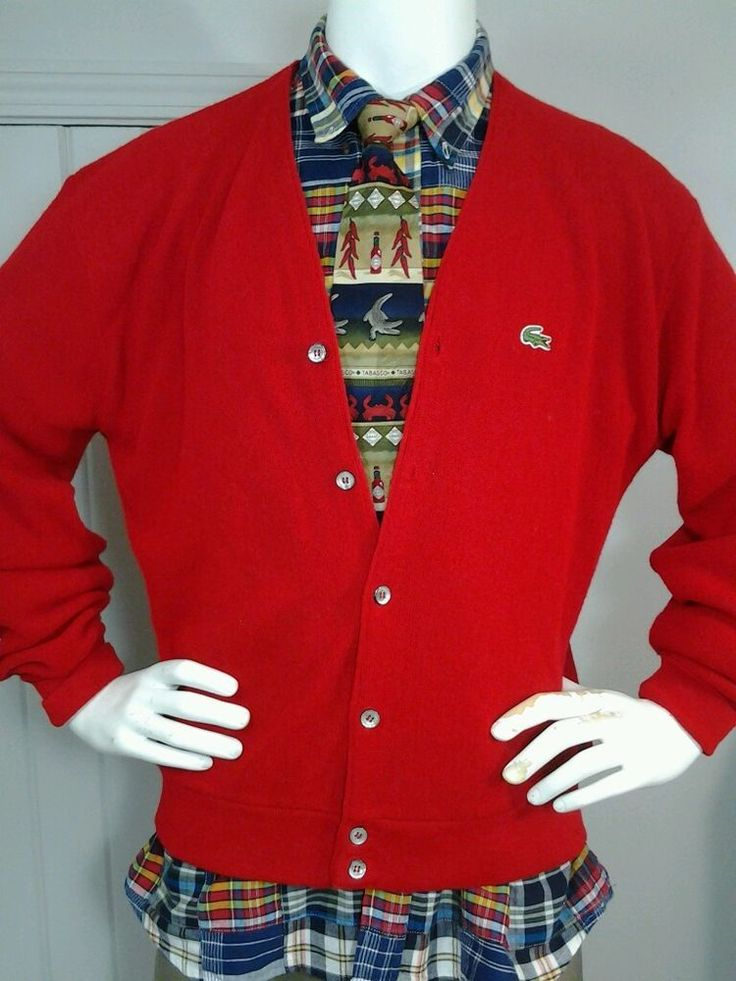 Vintage Izod Lacoste Alligator Men's Cardigan Red Sweater XL USA Preppy in Clothing, Shoes & Accessories, Vintage, Men's Vintage Clothing | eBay