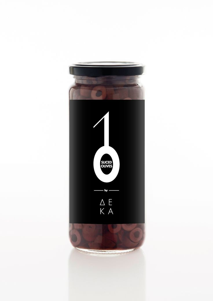10 Olives​ / Series of products by DEKA.​ The visualization of number one, which in some packages like that of oil and olives symbolizes branch and the number zero is the visual coding of the product. In this product line the number zero is an elliptical cycle, according to the product packaging and added an item to visually refers to the type of olive in the package.