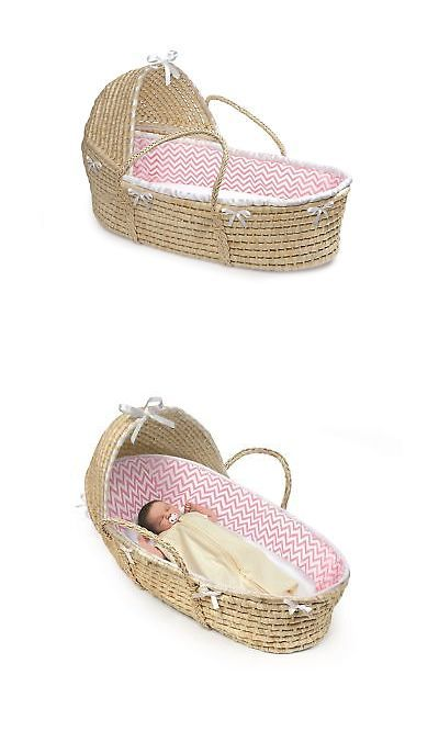Moses Baskets 94931: Badger Basket Hooded Moses Basket Chevron Bedding Natural Pink White -> BUY IT NOW ONLY: $58.77 on eBay!