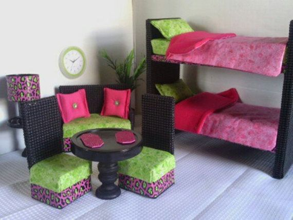 How to Make Barbie Furniture | Barbie Furniture / Monster High Furniture - New Item- Bunkbed Suite ...