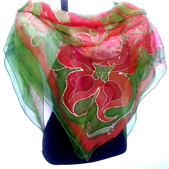 Hand Painted Silk Scarf Copper Burnt Orange May Green