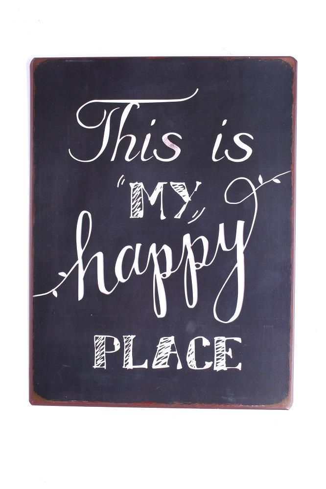 "LA FINESSE Schild Sign ""THIS IS MY HAPPY PLACE"" schwarz/weiß NEU in Möbel & Wohnen, Dekoration, Schilder & Tafeln 
