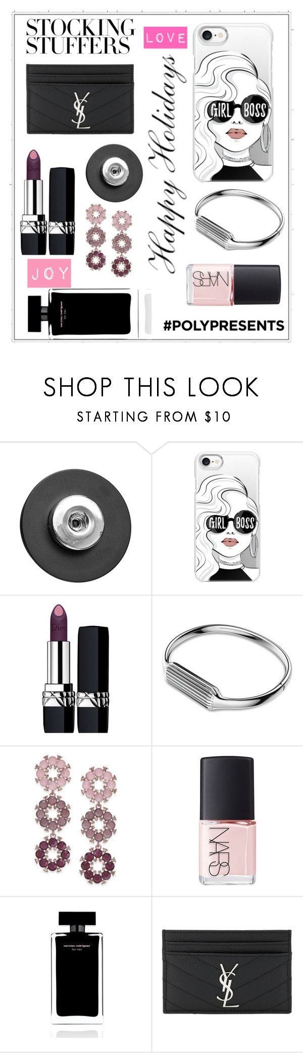 """""""#PolyPresents: Stocking Stuffers"""" by shamrockclover ❤ liked on Polyvore featuring Snap Jewels, Casetify, Christian Dior, Fitbit, INC International Concepts, NARS Cosmetics, Narciso Rodriguez, Yves Saint Laurent, contestentry and polyPresents"""