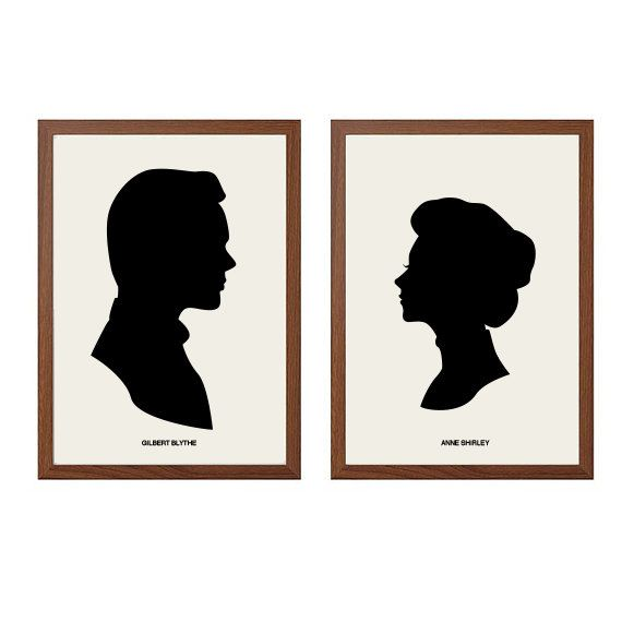 ANNE of GREEN Gables | Anne Shirley + Gilbert Blythe Poster : Modern Illustration Books Retro Art Wall Decor