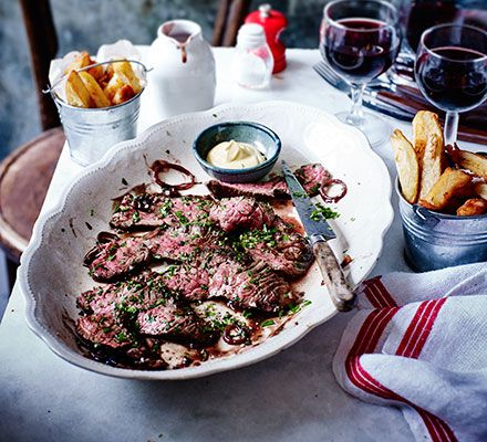 Also known as hanger steak, this cut packs a lot of flavour and is best cooked rare to keep it tender - a succulent supper for two