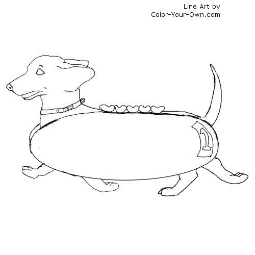 Line Drawing Dachshund : Racing dachshund line art coloring pages