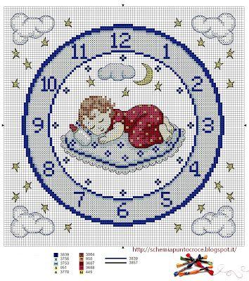 Mille schemi a punto croce gratuiti per tutti: Punto croce per bambini: orologio azzurro