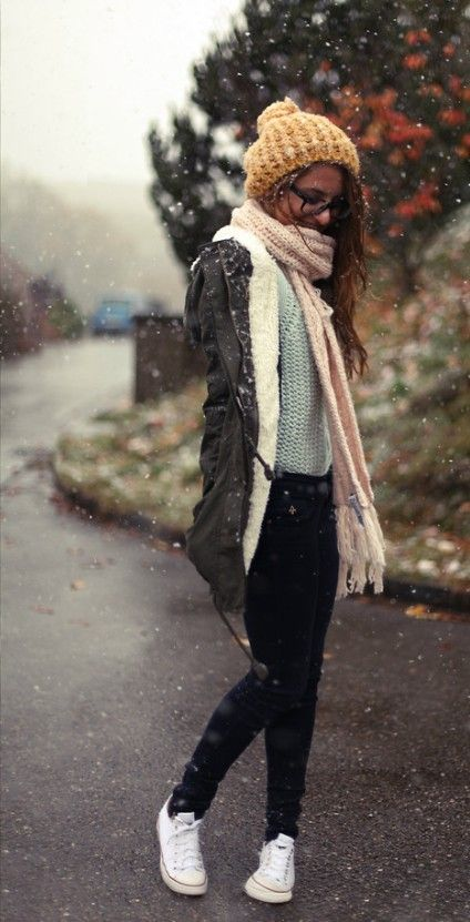 winter outfit with white converse