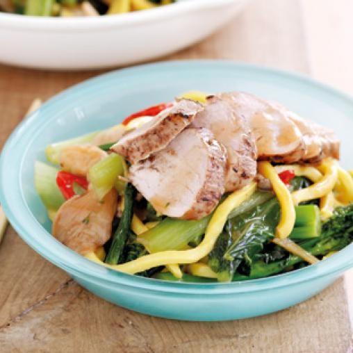 Five spice pork with stir-fried Asian greens