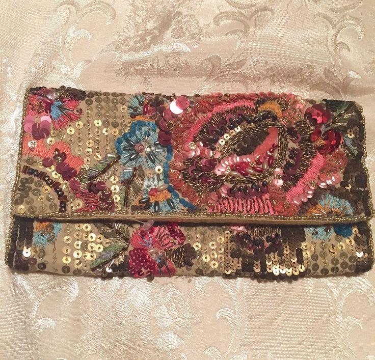Pink Embroidery Boho Bead Art Deco Sequin Vintage Look