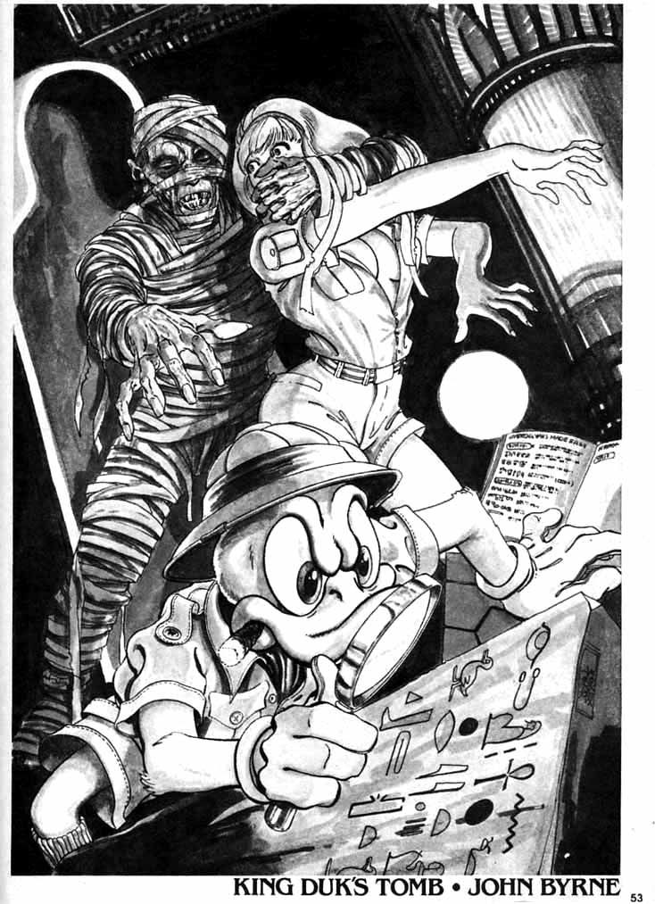 """Howard the Duck N°7 - Pin-up """"King Duk's Tomb"""" (1980) by John Byrne"""