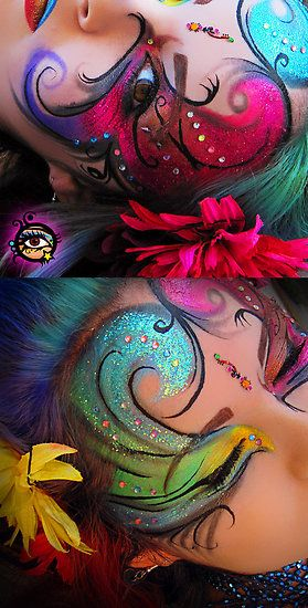 WOW - Colorful artistic fantasy makeup accented with crystals and a bindhi, titled 'Circus Trapeze Rainbow'.